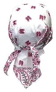 Bandana préformé moto paintball foot - dessin paisley blanc rose noir