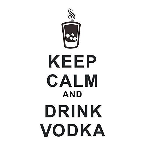 decalmile Negro Pegatinas De Pared Letras and Frases Keep Calm and Drink Vodka Pelar y Pegar Desmontable Vinilo Adhesivos Pared Decorativos para Salón Dormitorio Oficina Bar