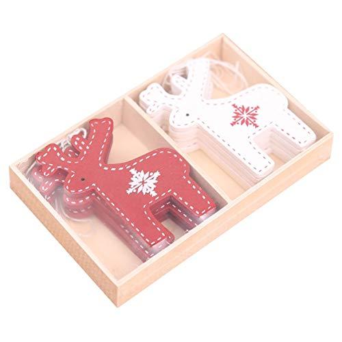 Kongqiabona 2/3/4pcs/Box Christmas Decoration Mini Wooden DIY Pendant Boots Snowflake Elk Pendant Xmas Tree Bell Ornaments - Nightmare Before Christmas-schal