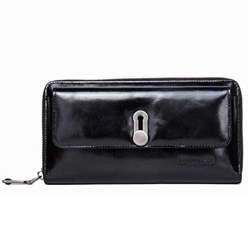 Frauen lange Abschnitt Leder Geldbörse Schnalle Clutch 2 Fold Handytasche (Color : Black, Size : 19 * 2.5 * 10)