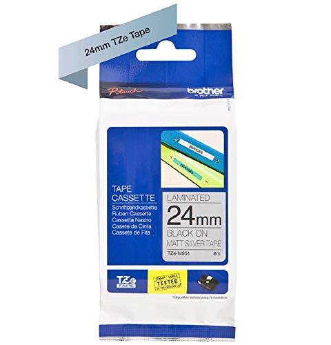 Brother Original P-touch Schriftband TZe-M951 24 mm, schwarz auf silber (matt)  (kompatibel u.a. mit Brother P-touch P700,- 2430, -D600, -9700PC, -P750W) Ptp-system