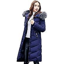 BAINASIQI Donna Piumino Cappotto Elegante Giacca invernale con Cappuccio e pelliccia Spessa Imbottito Lunga Parka