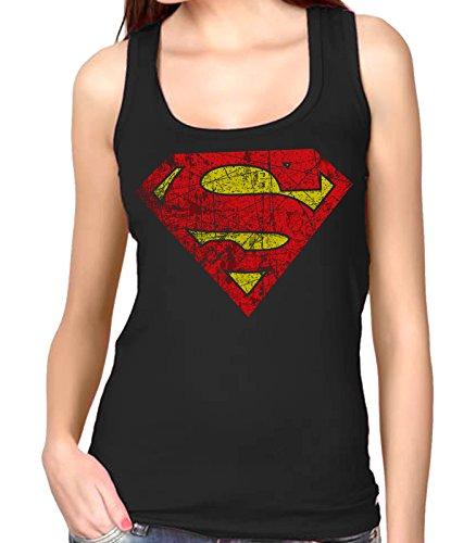 35mm - Camiseta Mujer Tirantes - Superman - Women's Tank Top, Negra, L