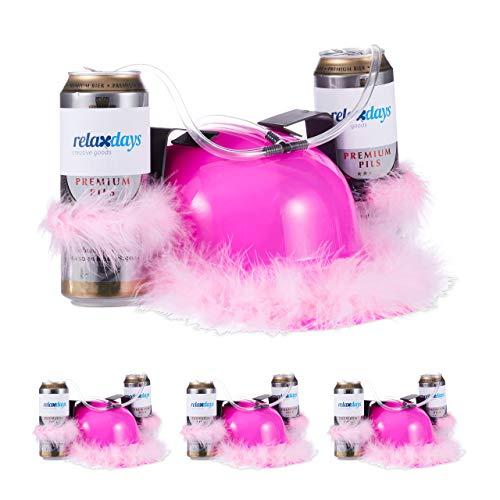 Relaxdays 4 x Bierhelm Pink, Helm mit Schlauch, für 2 Dosen Bier, Junggesellenabschied Frau, Party Trinkhelm, rosa Federn