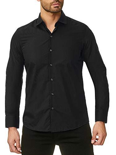 lim Fit Bügelfrei Freizeithemd Hochzeitshemd Männer Hemden Anzug Langarm Uni Neu RS-7002 Schwarz M ()