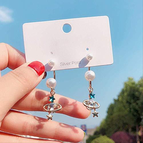 Korea Stil Silber Nadel Ohrringe Mädchen Saturn StarNette Nachahmung Perle Ohrringe Für Frauen Mode-Accessoires2 -