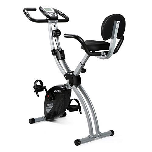 KUOKEL Vélo d'appartement Pliable Exercice Bike 8 Niveaux de Resistance Siège Réglable avec Moniteur LCD Support de Télépho