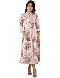 ANAYNA Women's Cotton Printed Long Pleated Dress Pink Color.
