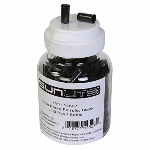 Sunlite Cable Ferrules, 5mm, Brake, Black, Bottle of 200 by Sunlite -