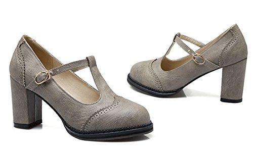 YE Damen Blockabsatz T-strap Runde Zehe Geschlossen Retro 6cm Heels Mary Jane Riemchen Leder Pumps Grau
