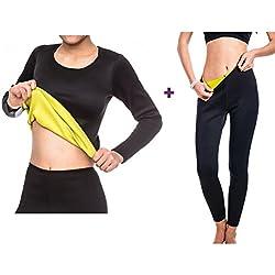Yodensity T-shirts à Manches Longues Pantalon De Sudation Amincissant Pour Femme En Néoprène
