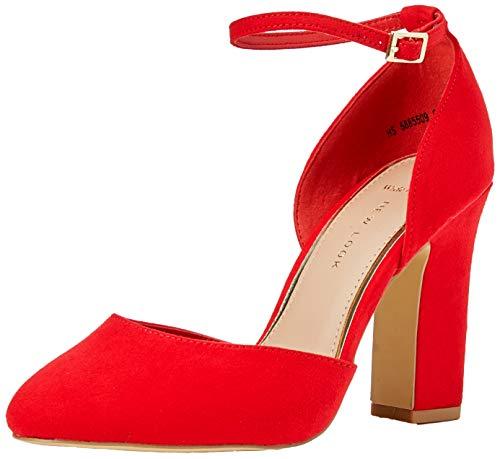 New Look Wide Foot Rachel, Zapatos de Tacón con Punta Cerrada para Mujer, Rojo (Bright Red 60), 39 EU