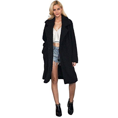 Strickjacke Damen ,LMMVP Frauen Lange Jacke Warm Parka Outwear Mantel (XXXL, Black) (Gefütterter Parka Pelz-winter)