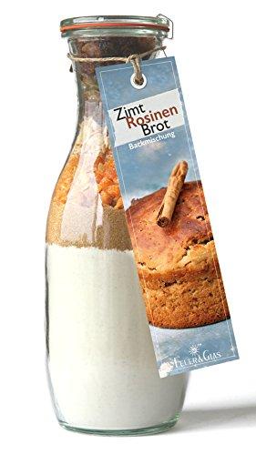 Backmischung im Weckglas für Zimt-Rosinen-Brot- Raffinierte Geschenkidee für Backfreunde- Backzutaten für die einfache Zubereitung von Zimt-Rosinen-Brot- Gourmetbackmischung von