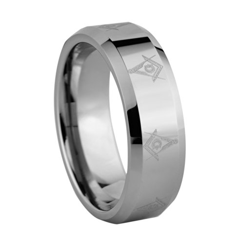 8mm Tungsten Ring with Laser Etched Masonic Symbols Sizes H - Z