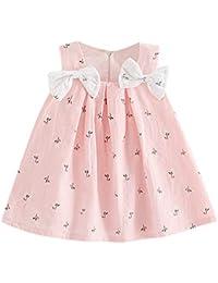 Vestido de niña de Boda | Vestido de Fiesta de Princesa con Tirantes Florales con Estampado de Lazo sólido para bebés y niños pequeños 6 Meses - 3 años