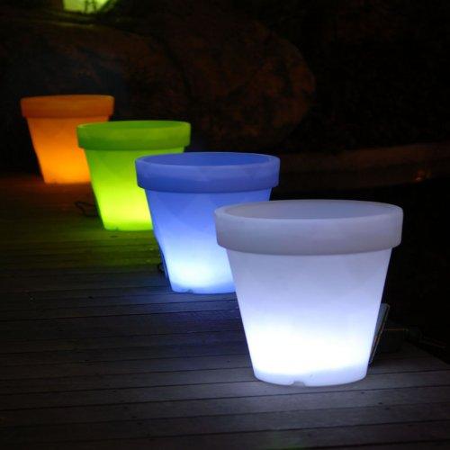 Macetero blanco Kant con iluminacion LED RGB para interior o exterior