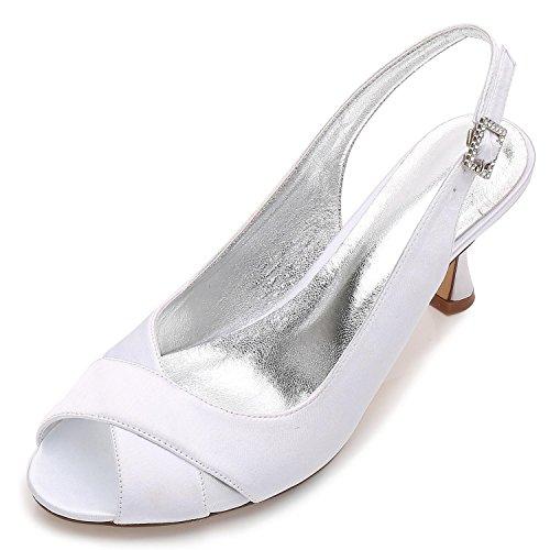 L@YC Frauen Hochzeit Schuhe P17061-16 Satin Peep Toe Braut Brautjungfer Mode Jane Stil Low Heel Party Court Schuhe 3-8, White, 37