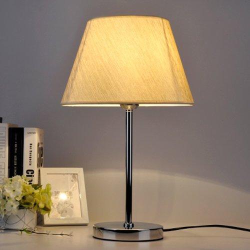 KMYX Tischlampe Nachttischlampe E27 Lampenfuß Schreibtischlampe Eisen Lampe Körper mit Stoff Schatten Nachtlicht Schlafzimmer Coffee Shop Schreibtisch Kommode Wohnheim ( Color : Chrome ) (Chrome Kommode Schlafzimmer)