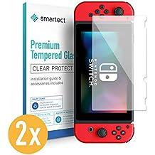 smartect 2X Protector de Pantalla de Cristal Templado para Nintendo Switch Lámina Protectora Ultrafina de 0,3mm | Vidrio Robusto con Dureza 9H y Antihuellas Dactilares