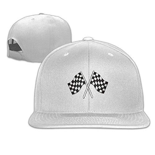 LLALUA Checkered Flags Race Car Flag Pole Adjustable Sandwich Peaked Baseball Hat Aawhite Donut-pole-single