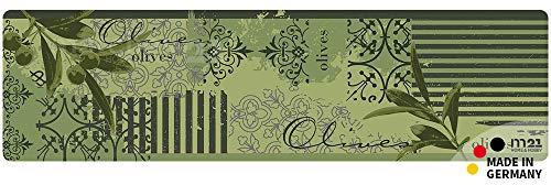 matches21 Küchenläufer Teppichläufer Teppich Läufer grüne Oliven 50x180x0,4 cm maschinenwaschbar Rutschfest Küchenvorleger