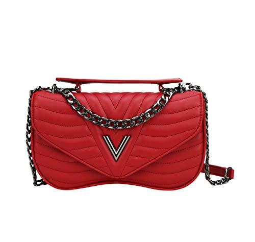 CUIBIRD Einfarbig Damenhandtasche Leder Damentaschen Frauen Taschen Lässig Schultertaschen Klein Umhängetasche Damen Tasche Stylischer Handtaschen Elegant Bags for Women Handtasche (Rot)