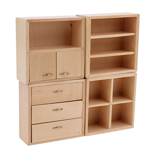 Fenteer Puppenhausmöbel Puppenstube Zubehör für 1:12 Puppen Haus Zimmer Dekoration - Schrank - Schlafzimmer Schrank Sammlung