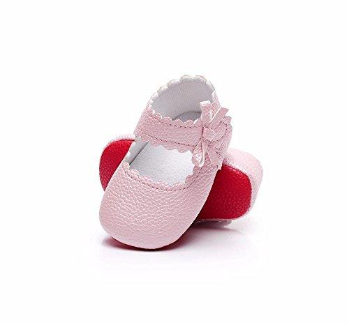 Janly Schuhe für 0-18 Monate Baby Mädchen Welle Bowknot Schuhe Neugeborenen PU Leder Krippe Schuhe Erste Wanderer (6-12 Monate, Rosa) (Elfenbein-blumen-mädchen-schuhe)