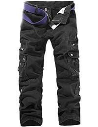 Ghope Homme Pantalon Chino Slim En Coton Droit Casual Cargo Treillis Militaire Camouflage Multi Poches