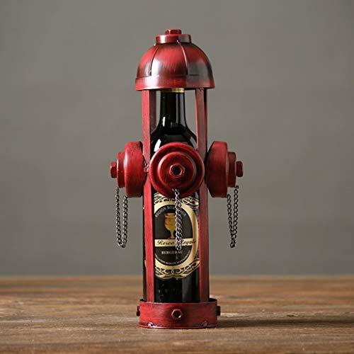 LCTCJJ Retro schmiedeeiserne Feuerwehrmann Weinflaschenhalter Ständer Rack Home Küchentisch Kunst Dekoration Rot Kreative Ornamente (Farbe : Fire hydrants) -