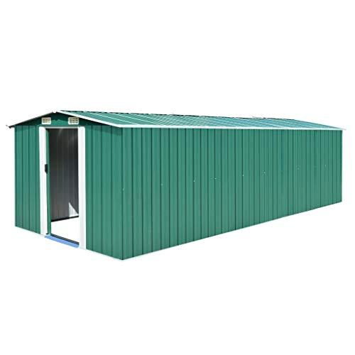 tidyard Caseta de Jardín Exterior con 4 Ventilación para Almacenamiento de Herramientas de A Prueba de Polvo y Resistente a la Intemperie de Acero Galvanizado Verde 257x597x178 cm