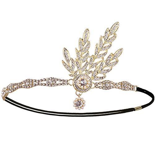 Ouinne fascia anni 20 gatsby flapper headband, accessori di matrimonio tiara strass nuziale di cristallo fascia capelli