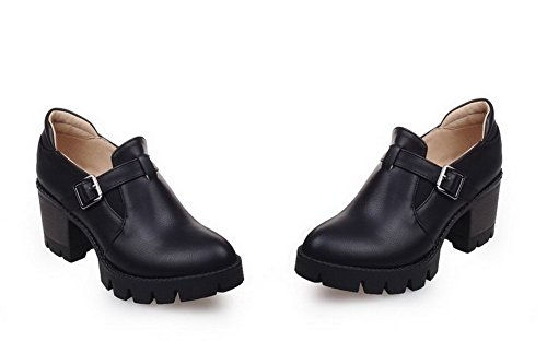 VogueZone009 Femme Rond Tire Pu Cuir Couleur Unie à Talon Correct Chaussures Légeres Noir