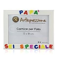 Idea Regalo - Cornici per foto in legno con la scritta Papà Sei Speciale, da appoggiare o appendere, misura 13x18 cm Bianca. Ideale per regalo e ricordo.