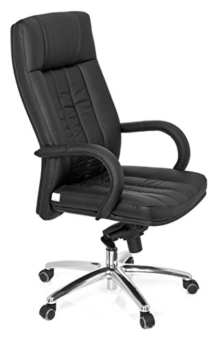 For Sale hjh OFFICE, 724200, Luxury Executive Chair, swivel office chair, big, XXL G 300, black, faux leather, high ergonomic backrest, design computer desk chair chrome amrests, knee tilt mechanism, thick padded, up to 150 kg / 330 lb body weight Special