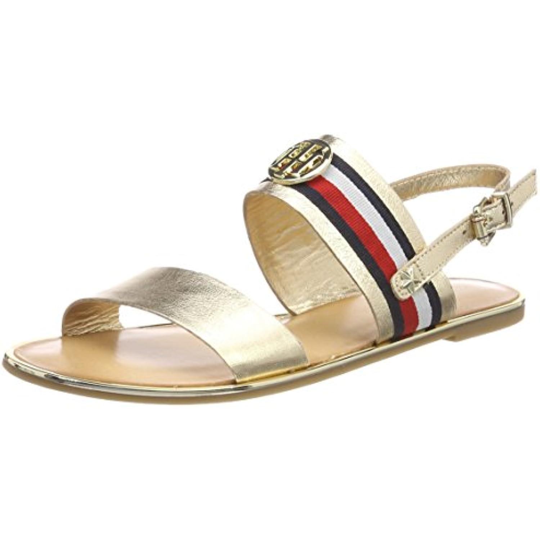 Tommy Ribbon Hilfiger Corporate Ribbon Tommy Flat Sandal Met, Bride arrière Femme - B078T69SRN - ff4690