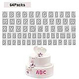 Buchstaben Ausstecher (64 stücke)- Alphabet Keksausstecher einschließlich A - Z 26 Großbuchstaben (2 cm), 26 Kleinbuchstaben (1.5cm), 12 Symbole für Kuchen, Kekse