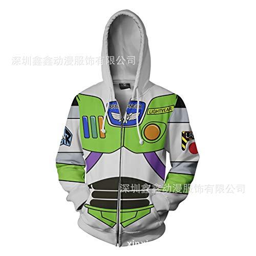 Dwygx Anime 3D Muster Gedruckt Hoodie Männer Outwear Leichtes Sweatshirt Mit Taschen Mit Langen Ärmeln Tunnelzug Cosplay Buzz Lightyear (Buzz Lightyear Kostüm Für Herren)