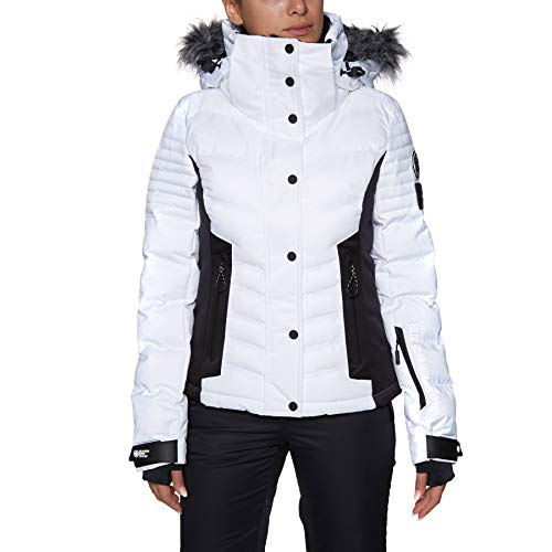 Superdry Damen Luxe Snow Puffer Jacke, Optic, 40 Womens Warm Up Jacket