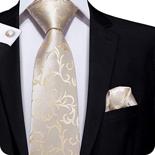 Hi-Tie Männer Paisley Klassische Beige Champagner Krawatte mit Manschettenknöpfe und Einstecktuch Krawattenset