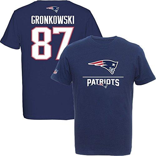 Majestic Rob Gronkowski #87 New England Patriots Aggressive Player NFL T-Shirt L