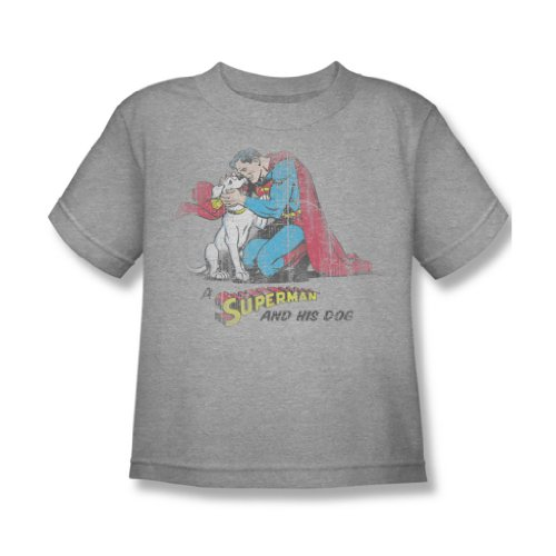 Superman - A & His Dog Juvy T-Shirt in Heather, 7, Heather (Heather Juvy T-shirt)