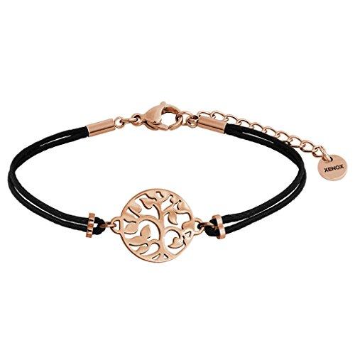 XENOX X2572R Damen Armband Lebensbaum Symbolic Power Edelstahl Rose Schwarz 18,5 cm