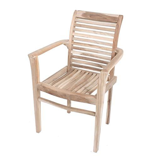 VARILANDO® 2er-Set Stapelstuhl Johanna aus unbehandeltem Teak-Holz Garten-Stuhl Armlehnen-Stuhl Holz-Stuhl
