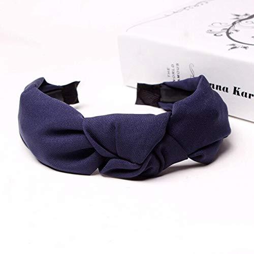 TSEINCE Geknotete Frauen Stirnbänder Haarschmuck Einfarbig Mädchen Haarband Head Hoop Twist Stirnband Für Frauen Lady Turban Navy Blue - Womens Navy Kostüm