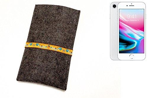 """flat.design Filzhülle """"Lisboa"""" für Apple iPhone 8 - passgenaue Handytasche aus 100% Wollfilz (anthrazit) - made in Germany Schutz Case für Apple iPhone 8 Eichhörnchen - anthrazit"""
