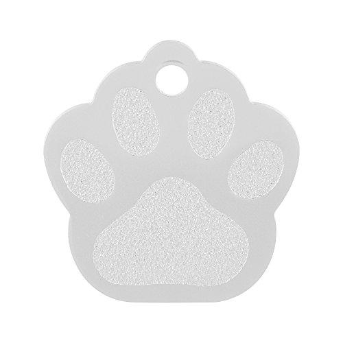 GRAVURZEILE Aluminium Hundemarke mit Gravur Namen - Großes Pfoten Motiv - wähle Eine Farbe - Größe 3,4 x 3,5 cm Farbe Grau