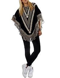 Damen Strick Poncho Fransen Azteken Muster