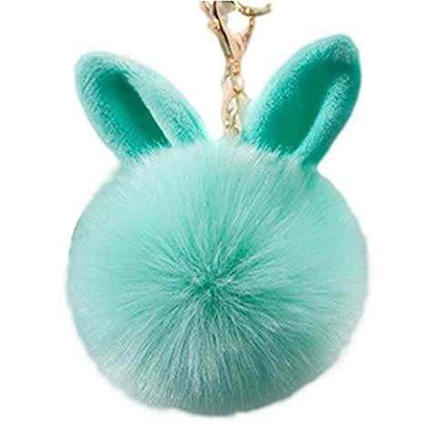Gluckliy Kaninchen Pelz Ball Plüsch Keychain Schlüsselanhänger Schlüsselring Auto Schlüssel Handtaschen Taschen Beutel Anhänger Kette